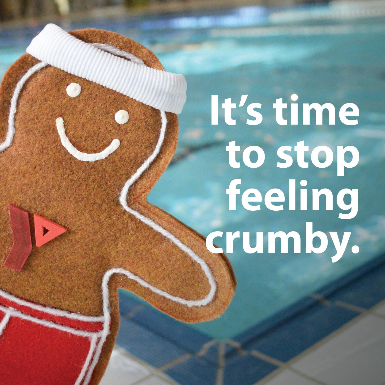 Gingerbread man beside pool